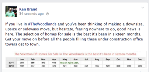 Inventory in The Woodlands at a 16 month high.
