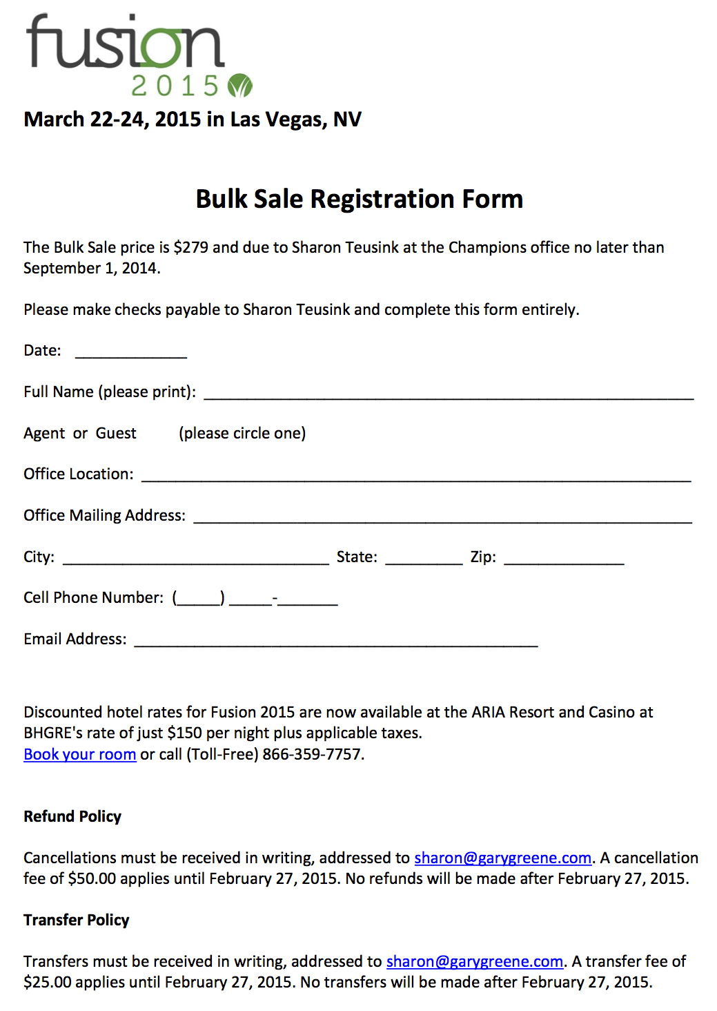 Fusion 2015 Registration Form