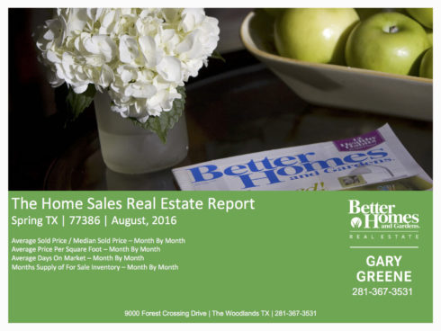 Spring (77386) Home Sales Report August 2016