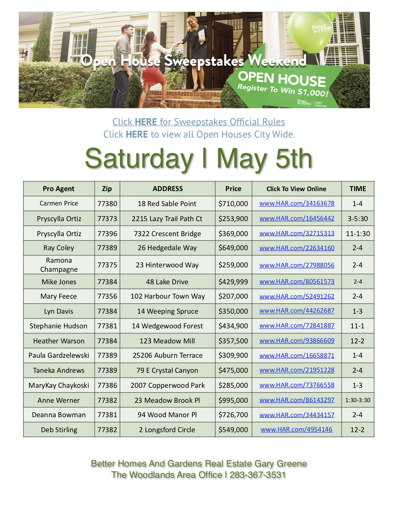 Open House $1,000 Sweepstakes Weekend | Saturday May 5th